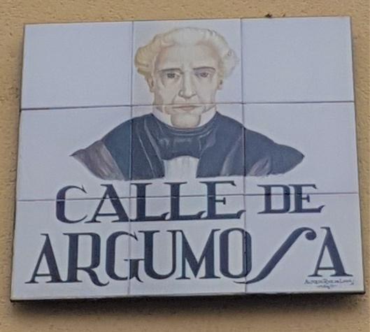 Placa calle Argumosa retrato
